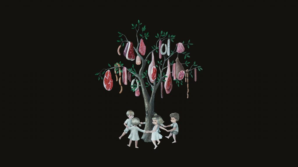 Vegan Art, Carnism, Speciesism, Berlin Illustrator, Veganism, Pop Surrealism, Lowbrow, Tree, Dancing Children, Black, Meat, Sausages